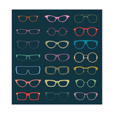 Vintage Glasses Silhouettes Prints by  vreddane