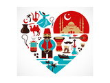 Turkey - Heart Print by  Marish