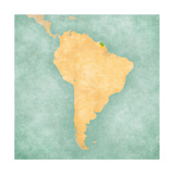 Map Of South America - French Guiana (Vintage Series) Prints by  Tindo