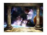 Frame With Two Medieval Columns And Space Scene Prints by  frenta