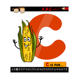 Letter C With Corn Cartoon Illustration Posters by Igor Zakowski