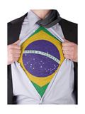 Business Man With Brazilian Flag T-Shirt Prints by  IJdema