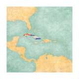 Map Of Caribbean - Cuba (Vintage Series) Posters by  Tindo