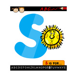 Letter S With Sun Cartoon Illustration Prints by Igor Zakowski