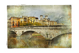 Girona, View With Bridge - Artistic Picture In Painting Style Prints by  Maugli-l