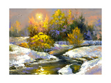 Winter Landscape With The Wood River Poster by  balaikin2009