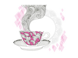 Coffee And Tea Mug With Abstract Doodle Pattern Kunstdrucke von cherry blossom girl