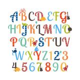 Cute Retro Style Boy Themed Alphabet Set Schilderijen van Pink Pueblo