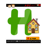 Letter H With House Cartoon Illustration Prints by Igor Zakowski