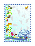 Postage Stamp. Butterflies And Flowers Prints by  GUARDING-OWO