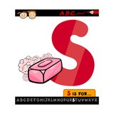 Letter S With Soap Cartoon Illustration Poster by Igor Zakowski