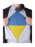 Business Man With Ukrainian Flag T-Shirt Prints by  IJdema