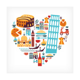 Italy Love - Heart Print by  Marish