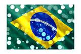 Brazilian Flag Closeup With Confetti Falling For Brazilian Carnival Prints by  Lucato