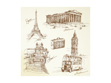 Travel Over Europe - Hand Drawn Collection Kunst af canicula