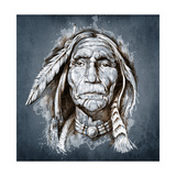 Sketch Of Tattoo Art, Portrait Of American Indian Head Poster by  outsiderzone
