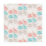 Bicycles Seamless Pattern In Retro Style Posters by  incomible