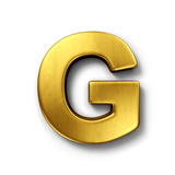 3D Rendering Of The Letter G In Gold Metal On A White Isolated Background Art by  zentilia