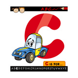 Letter C With Car Cartoon Illustration Poster by Igor Zakowski