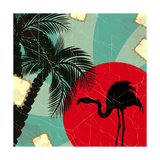 Retro Blue Tropical Background With Flamingo Premium Giclee Print by  elfivetrov