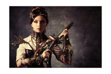 Portrait Of A Beautiful Steampunk Woman Holding A Gun Over Grunge Background Prints by  prometeus