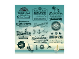 Vintage Summer Typography Design With Labels, Icons Elements Collection Prints by  Catherinecml