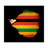 Map Outline Of Zimbabwe With Flag Grunge Paper Effect Plakater af Veneratio