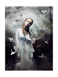 Mystery. Origami. Woman With White Paper Pigeon. Fairy Tale. Fantasy Plakat autor Gromovataya
