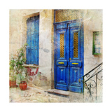Traditional Greek Streets -Artwork In Painting Style Premium Giclee Print by  Maugli-l