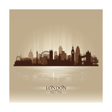 London England Skyline City Silhouette ポスター :  Yurkaimmortal