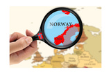 Magnifying Glass Over A Map Of Norway Print by  viperagp