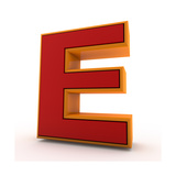 3D Alphabet, Letter E Isolated On White Background Art by Andriy Zholudyev