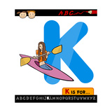 Letter K With Kayak Cartoon Illustration Prints by Igor Zakowski