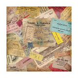 Vintage Travel Background Made Of Lots Of Old Tickets Premium Giclee Print by  shootandwin