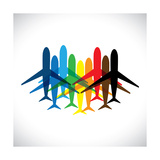 Abstract Colorful Airplane Icons Posters by  smarnad