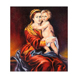 The Madonna With The Child, Drawn By Oil On A Canvas Posters by  balaikin2009