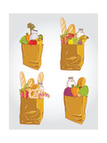 Paper Bag With Food Bread And Fruits, Vegetable Posters by  tomuato