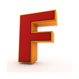 3D Alphabet, Letter F Isolated On White Background Prints by Andriy Zholudyev