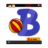 Letter B With Ball Cartoon Illustration Posters by Igor Zakowski
