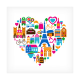 Pars Love - With Set Of Icons Premium Giclee Print by  Marish