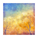 Digital Oil Painting Autumn Trees, Flying Birds Premium Giclee Print by  kostins
