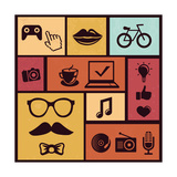 Trendy Hipster Icons Premium Giclee Print by  venimo