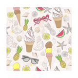 Cute Summer Abstract Pattern. Seamless Pattern With Ice Creams, Sunglasses, Fruits, Stars Prints by cherry blossom girl
