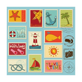 Sea Elements Stamp Collection Premium Giclee Print by  woodhouse