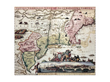 New England Old Map With New Amsterdam Insert View Prints by  marzolino