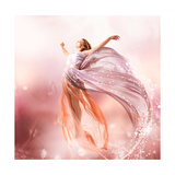 Fairy. Beautiful Girl In Blowing Dress Flying. Magic Prints by Subbotina Anna
