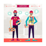 Two Hipsters On Urban Background In Retro Style Posters by  incomible