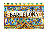 A Barcelona Sign Over A Mosaic Wall Prints by  nito