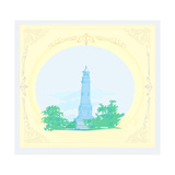 Lighthouse Seen From A Tiny Beach - Vintage Poster Prints by  JackyBrown