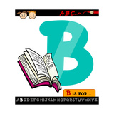 Letter B With Book Cartoon Illustration Prints by Igor Zakowski